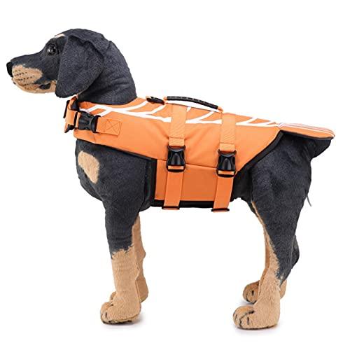 Q-YR Traje De Baño para Mascotas Chaleco Salvavidas Suministros para Perros De Verano Chaleco De Flotabilidad De Agua con Mango De Rescate para Piscina Kayak De Playa,Naranja,M