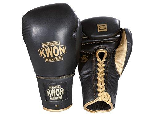 Kwon Boxhandschuhe Sparring mit Schnürung schwarz/gold