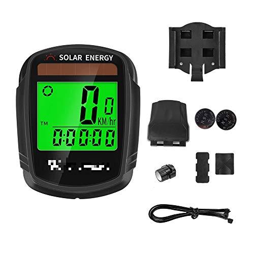 Velocímetro inalámbrico impermeable para bicicleta, cuentakilómetros de bicicleta, cuentakilómetros, alarma automática solar...