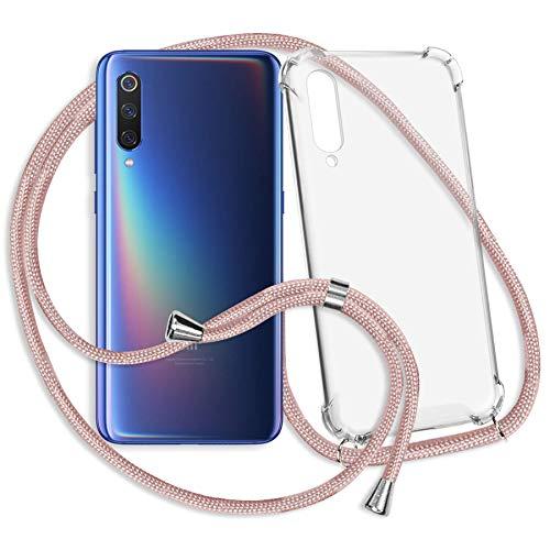 mtb more energy® Collar Smartphone para Xiaomi Mi 9, Mi 9 Explorer (6.39'') - Oro Rosa - Funda Protectora ponible - Carcasa Anti Shock con Cuerda