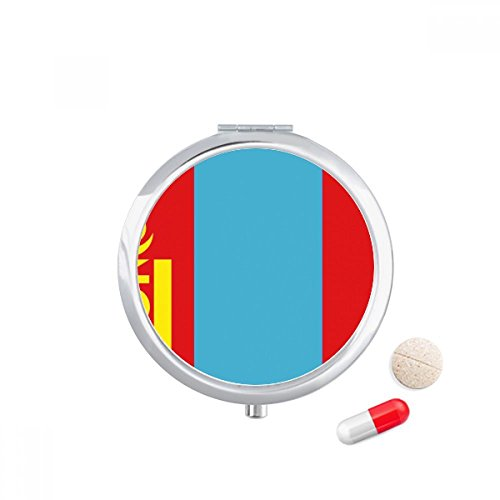 DIYthinker Mongolië Nationale Vlag Azië Land Reizen Pocket Pill case Medicine Drug Opbergdoos Dispenser Spiegel Gift