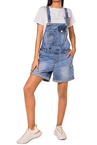 Damen Latz Jeans Shorts Kurze Denim Latzhose Stretch Bib Hot Pants Sommer Overall mit Träger, Farben:Blau, Größe:42