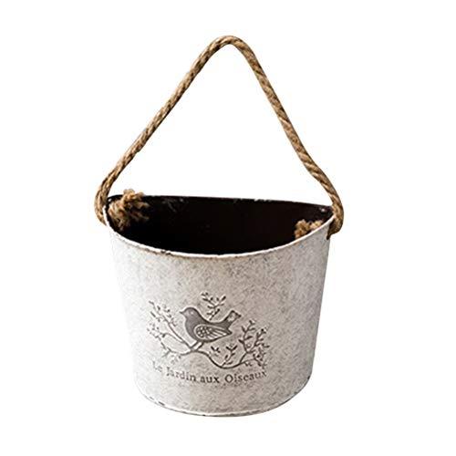 Yardwe Töpfe Blumentopf Outdoor Pflanze Töpfe Saftiger grüner Rettich-Topf-halbrunde Wand-Zinn-Blumen-Topf, der Starke wasserdichte verschmierte alte Blumen-Behälter