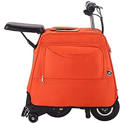Zdcdy Electric Luggage Scooter, Electric Riding Suitcase, Smart Riding Luggage Electric Suitcase, Small Light Portable Trolley Electric Bicycle, for School Airport Business,Orange-13km