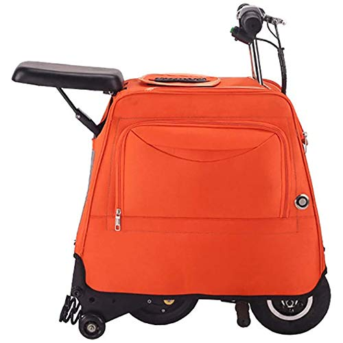 Zdcdy Electric Luggage Scooter, Electric Riding Suitcase, Smart Riding Luggage Electric Suitcase, Small Light Portable Trolley Electric Bicycle, for School Airport Business,Orange-25km