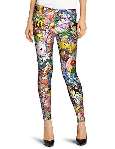 Damen Mode 3 Print Mario Digital Super Pocket Monster Leggings Fashionable Completi Bleistifthose Stretch Slim Fit Freizeithose Trousers (Color : Colour, Size : One Size)