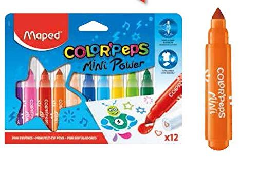 Maped Color'Peps Gros Feutres de Coloriage Mini Power pour Enfant, Pointe Large et Capuchon avec Motif Tampon, Encre Lavable à l'eau - Etui de 12 Feutres Assortis