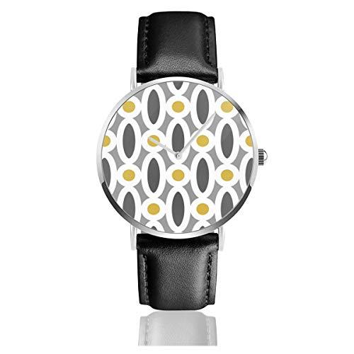 Moderne ovale Glieder-Muster in Senf und Grau Lederarmband Armbanduhr Casual Klassisch Edelstahl Business Armbanduhr