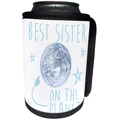 3dRose Russ Billington Designs - Best Sister On Earth Design in Baby Blue over White - Can Cooler Bottle Wrap (cc_220745_1)