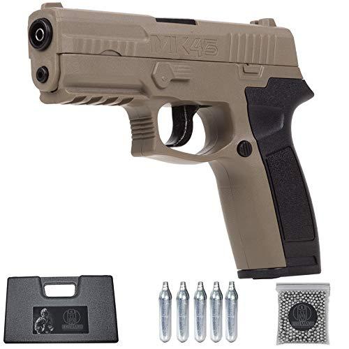 MK45 (150 m/s) | Pistola de CO2 semiautomática y Potente. Arma de balines BB's + maletín + munición