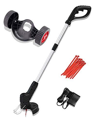 Tondeuse à gazon électrique sans fil légère avec chargeur de batterie et poignée réglable de 69 à 94 cm pour l'entretien de la pelouse