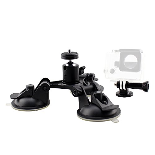 SIM&NAT Triple Suction Cup Mount with 1/4 Threaded Head 360 Degree Tripod Ball Head Mount & Screw for Gopro Fusion Hero 6 5 4 Session 3+ 3, Tri Cup Camera Mount for Car Window Windshield Glass