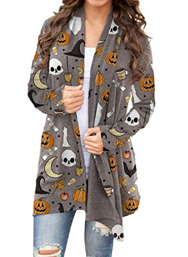 CORAFRITZ - Cárdigan de manga larga para mujer, diseño de calavera, diseño de calaveras de Halloween, suave, ligero, de invierno