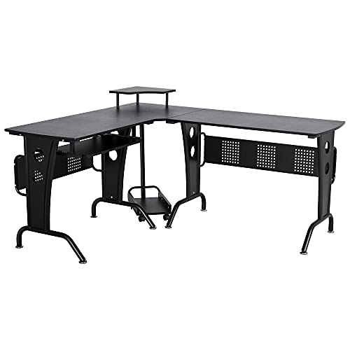 HOMCOM L-Shaped Corner Work Desk Gaming Office w/Steel Frame CPU Rack Keyboard Tray Space-Saving Melamine Coating Computer Home Workstation Black