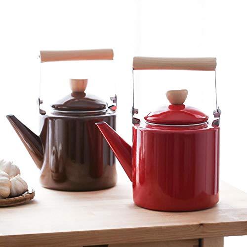 LLine Emaille op stalen theeketel 2L cilindervormige waterketel met houten handvat Vintage stijl theepot rood witte koffiekleur, KOFFIE