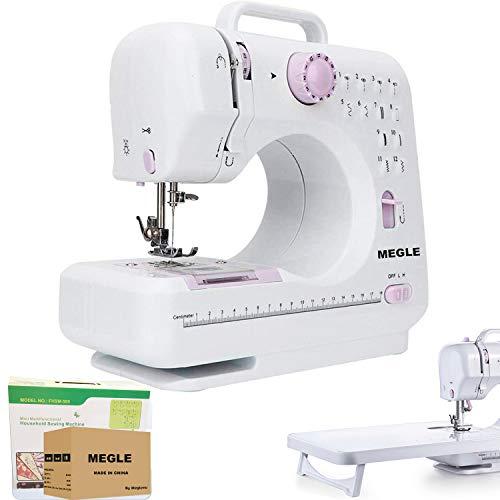 Máquina de coser, máquina de coser eléctrica con 12 puntadas, 2 velocidades, luz de...