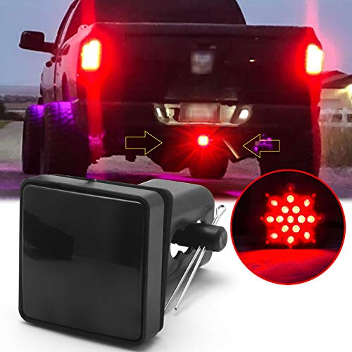 Xotic Tech Trailer Hitch LED Brake Tail Lights 15 LEDs Red Smoked Lens Cover Light Fit 2' Receiver Truck SUV
