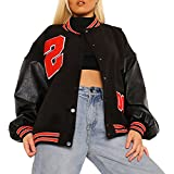 Beauace Y2K - Chaqueta de béisbol de manga larga para mujer, bordada de manga larga, de piel de moda, Negro B, L