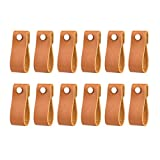 12 Pack Handmade Leather Drawer Pull Leather Cabinet Pulls Leather Handle Wardrobe Door Handle Pulls Knob for Dresser Drawers Cabinet