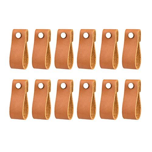 Handgefertigte Leder-Schubladengriffe für Kommode, Schubladen, Schränke, 12 Stück