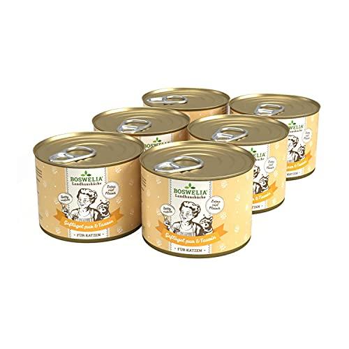 Boswelia Landhausküche Katze Geflügel PUR 6X 200 g für alle Katzenrassen geeignet hohe Bioverfügbarkeit, Beste Qualität schonend gegart