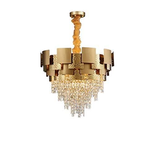 CX Araña de Iluminación Colgante de Cristal de Lujo, Moderno Comedor Luces de Techo Lackxtures E14 Lámparas Ajustables Luz para Sala de Estar Girls Room Bar-Golden 78 * 60 cm pareo