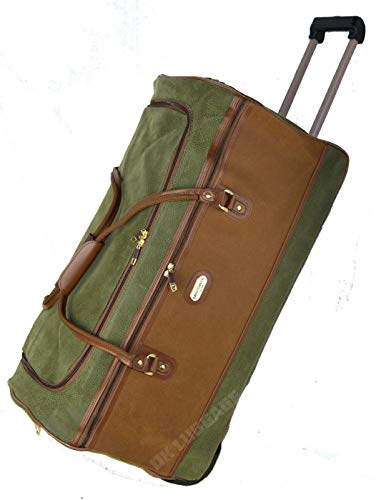 DK Luggage Synthetic Suede Duffle Holdall Extra Large 30' Bag 2 Wheel with Tan Trimming Green