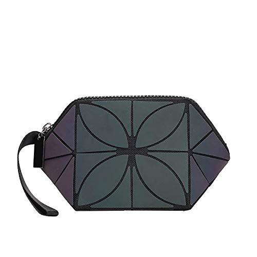 Drawihi. Sac Cosmétique Pliable Semi-Circulaire Trousse Cosmétique Losange Géométrique Trousse de Toilette Portable Lumineuse