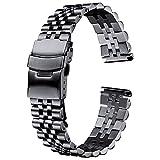 Correas de reloj, pulsera de banda de reloj de acero inoxidable 20 mm 22 mm 24 mm Mujeres Hombres Hombres Accesorios de correa de banda de reloj de metal plateado, reemplazo de banda de reloj (Color: