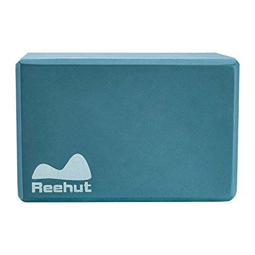 """REEHUT (1-PC Yoga Block, 9""""x6""""x4"""" - High Density EVA Foam Block to Support and Deepen Poses, Improve Strength and Aid Balance and Flexibility - Lightweight, Odor Resistant(Turquoise)"""