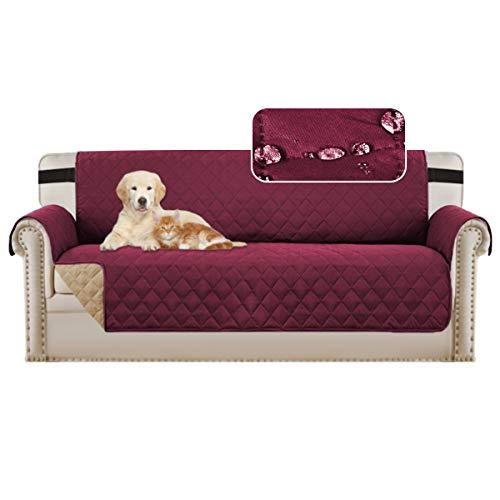 BellaHills Sofabezüge Sofa Schonbezug Reversible Faux Cotton Furniture Sofa Protector mit Riemen, Schutz vor Haustieren, Flecken, Verschleiß und Abrieb (Sofa/Dreisitzer: Burgund/Tan)