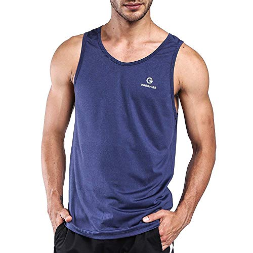 Ogeenier Men's Training Quick-Dry Sports Tank Top Shirt for Gym Fitness Bodybuilding,Blue,M