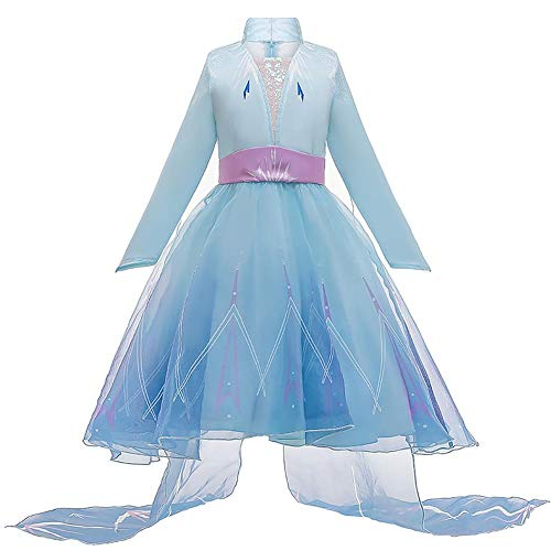 FYMNSI - Disfraz de Elsa para niña de reina de hielo y nieve, diseño de copo de nieve, color azul, vestido largo de carnaval, Halloween, Navidad, cosplay, fiesta de cumpleaños o regalo