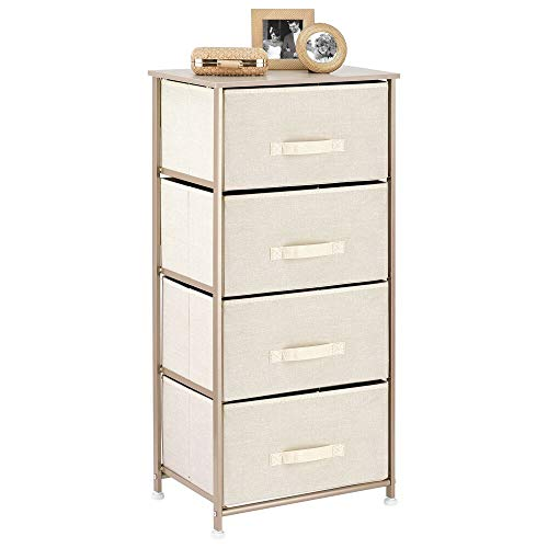 mDesign Vertical Dresser Storage Tower - Sturdy Steel Frame, Wood Top, Easy Pull Fabric Bins - Organizer Unit for Bedroom, Hallway, Entryway, Closets - Textured Print - 4 Drawers - Cream/Gold