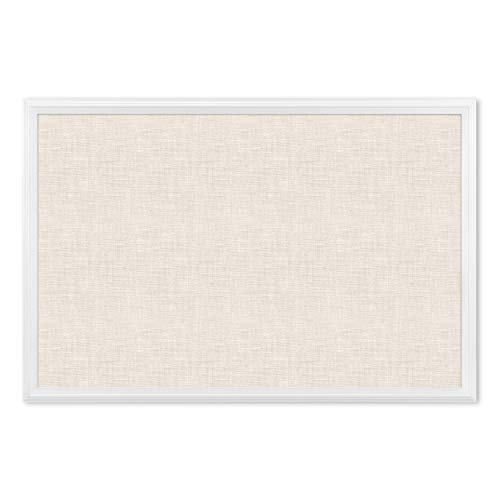 U Brands Cork Linen Bulletin Board, 20 x 30 Inches, White Wood Frame (2074U00-01)