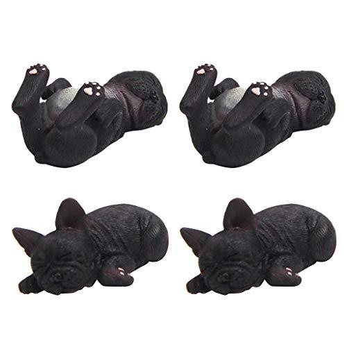 Sharplace 4pcs Résine Bulldog Français Couchage Sculpture Figurine Artisanat Maison Table Décoration Géométrie Résine Faune Chien Figurine Artisanat Noir
