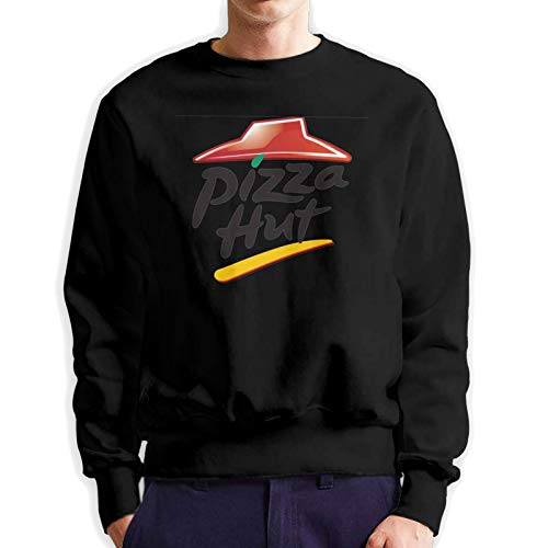 Pizza Hut Mens Hoodie Long Sleeve T Shirt Classic Hoodie Pullover Crew Neck Black