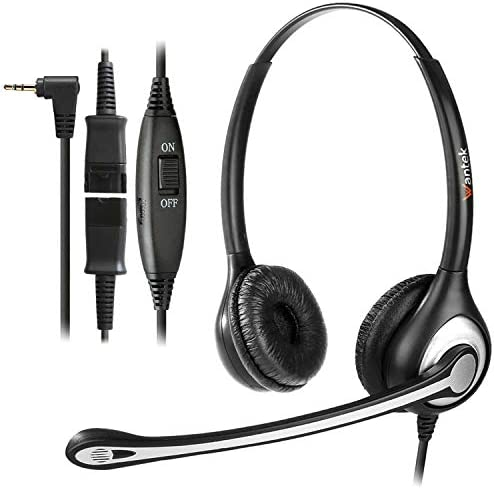 Wantek 2.5mm Telephone Headset with Mic Noise Cancelling, Office Phone Headset Compatible with AT&T ML17929 Panasonic Vtech RCA Uniden Cisco SPA Grandstream Polycom Cordless Dect Phones(F600J25)