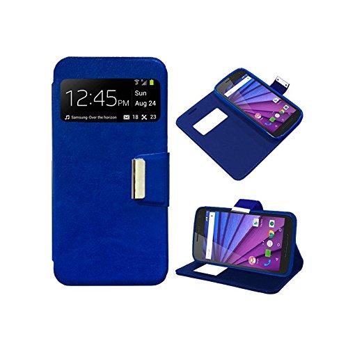 iGlobalmarket Funda Flip Cover Tipo Libro con Tapa para Motorola Moto G 3ª Generación Liso Azul