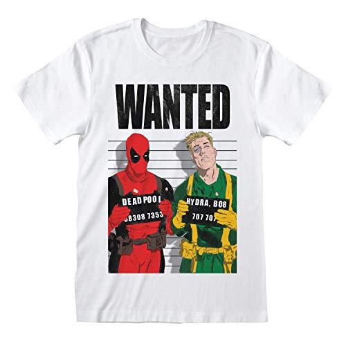 Deadpool - Camiseta Modelo Wanted para Adultos Unisex (M) (Blanco)
