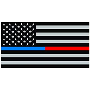 Two Pack Distressed Red Blue Line Subdued American Flag/Sticker FA Graphix Police Firefighter EMT