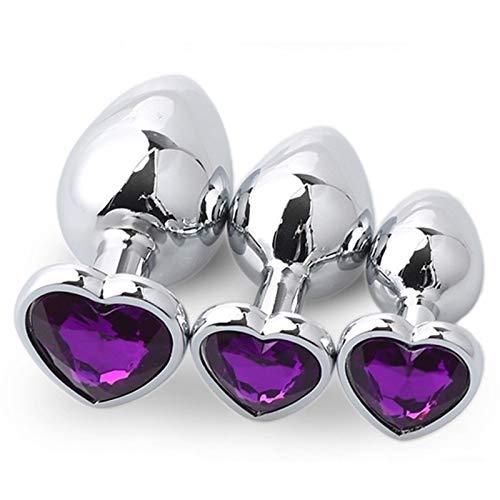 WZLW 3 Pcs/Set Ànâl Bûtt Pl'ûgs for Men Beginners Àdult Śex Toys for Couples for Vágǐnál or AnáLL Fisting Women Man - Heart Diamond Base WZLW (Color : Purple)