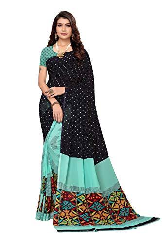 Indischer Sari, traditioneller Kunst-Georgette, Sari, Pakistanisch, ethnisch, Hochzeit, Bollywood, Modekleidung