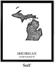 Serif Design Studios Michigan, Longitude, Latitude, City Maps, State Prints, Art Print, Map Print, World Map, Travel Map, Map Art