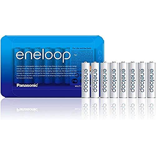 Panasonic Eneloop BK-4MCCE/8LE Sliding Pack Batterie Ricaricabili Ni-MH'Ready-to-Use' AAA Micro, Confezione da 8 Pezzi, Colore: Bianco