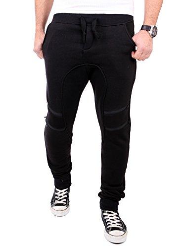 Reslad Jogginghose Herren Low Crotch Zipped Sweatpant Sporthose RS-318 Schwarz M