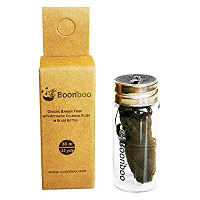 Boonboo Dental Floss | 33 yards/30m Bamboo Fiber With Activated Charcoal | Glass Bottle & Cutting Lid | Candelilla Wax & Mint Flavor | Biodegradable & Sustainable | Plastic- Free