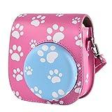 Funda protectora y portátil compatible con Fujifilm Instax Mini / 9/8/8+/ 11 Cámara de película instantánea con bolsillo para accesorios y correa ajustable (rosa)