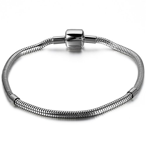 JewelryWe Schmuck Damen Herren Armband, Schlangenkette Charme Armreif, Barrel Schnapp Schließe, Edelstahl, Silber