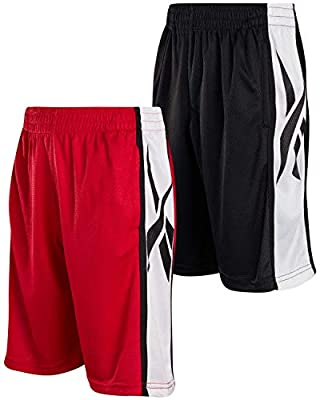 Reebok Boys' Active Shorts - Mesh Basketball Shorts (2 Pack), Size Medium, Black/Red Mesh